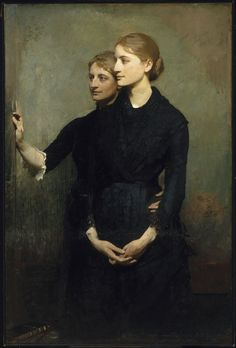 The Sisters is an 1884 oil on canvas painting by Abbott Handerson Thayer. It depicts Bessie and Clara Stillman, and was commissioned from Thayer by their brother, the banker James Stillman. Portraits, Portrait Art, Portrait Paintings, Jean Leon, Beaux Arts Paris, Albert Bierstadt, Robert Louis Stevenson, Figure Painting, American Artists