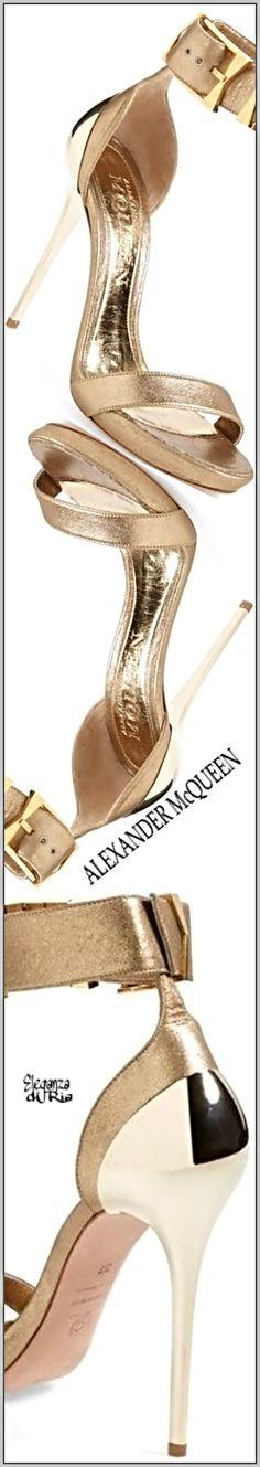 #alexandermcqueen #goldmetal #heel #leather #buckle #ankle #strap #sandal Alexander McQueen Gold Metal Heel Leather Buckle Ankle Strap Sandal #eleganzadiria Eleganza di Ria