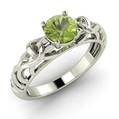 Natural Peridot Solitaire Ring in 14K White Gold - Ingrid   Diamondere - Jewelry on ArtFire