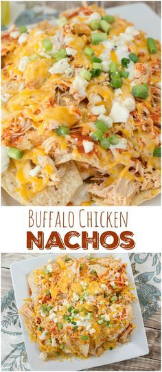 Loaded Buffalo Chicken Nachos. Shredded buffalo chicken, creamy cheese sauce, blue cheese crumbles and chopped green onions make these nachos the ultimate game day appetizer!