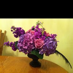 Hydrangea, roses and purple stock low centerpiece by yours truly! :)