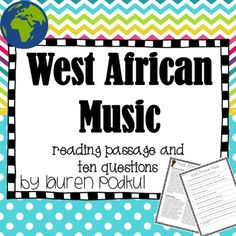 """Short informational text about West African music with ten accompanying questions. There is another version of questions that asks students to highlight their answers in the reading instead of writing out their answers. Included:Reading Passage about West African MusicStudent Worksheet""""Highlight Your Answer"""" directionsAnswer KeySimilar Products:Native American Music Reading Passage and QuestionsFrench Music Reading Passage and QuestionsPuerto Rican Music Reading Passage and QuestionsJapanese…"""