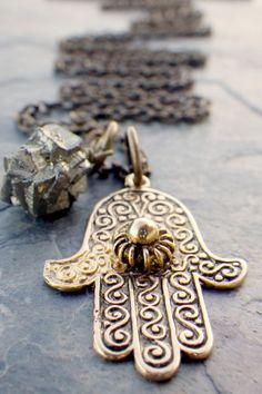 vintage hamsa necklace, hand of fatima, pyrite, extra long ($20-50) - Svpply