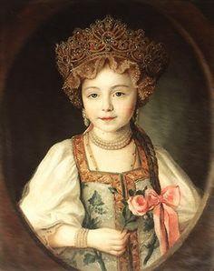 Pavlovna dressed in kokoshnik and sarafan, 1790s.