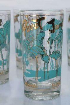 Vintage flamingo glasses