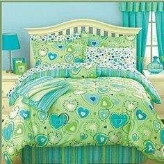 Twin Green Hearts Blue Comforter Bed In A Bag Throw S Bedspread