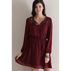 Entro Crochet Neck Peasant Dress ($35) ❤ liked on Polyvore featuring dresses, wine, transparent dress, red chiffon dress, see through dress, long sleeve dress and long sleeve chiffon dress
