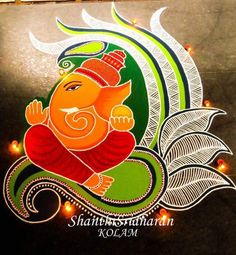 Check out latest ganesh rangoli designs and patterns which you can use to decorate your home this ganesh chaturthi. Easy Rangoli Designs Diwali, Best Rangoli Design, Rangoli Simple, Rangoli Designs Latest, Rangoli Designs Flower, Small Rangoli Design, Rangoli Ideas, Rangoli Designs Images, Rangoli Designs With Dots