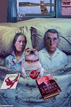 American Gothic Painting Characters in Bed
