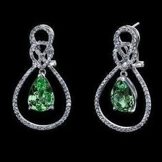 Hubert Gesser (@hubertjewelry) on Instagram:  Bright light-toned mint green Merelani tsavorite gemstones. Pave set through out the earrings are 166 round white diamonds with a total weight of 0.67 carats. #tsavorite #tsavoritejewelry #tsavoriteearrings #diamond #finejewelry