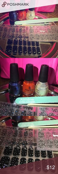 COMPLETE NAIL SET 2 nail polishes with beautiful bright purple and orange colors, nail file, cuticle remover, and 3 different design stickers all for $10 dollars!!!! China Glaze Accessories