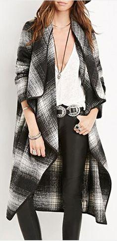 plaid waterfall coat