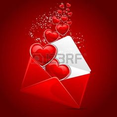 illustration of heart coming out of envelope as love message photo