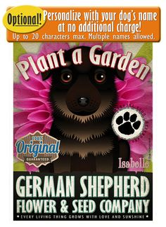 Dogs and Flowers Art Print German Shepherd by DogsIncorporated