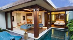 bedroom with pool villa