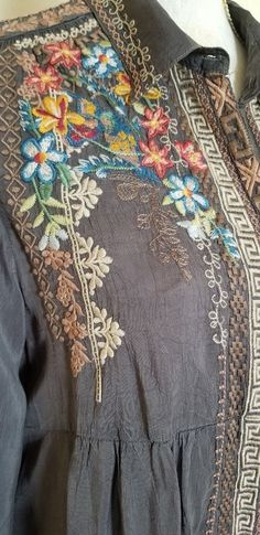 JOHNNY WAS SIZE M EMBROIDERED CUPRA RAYON GRAY TUNIC DRESS JohnnyWas #TunicDress #forsale #ebay #embroidery #summer #travel