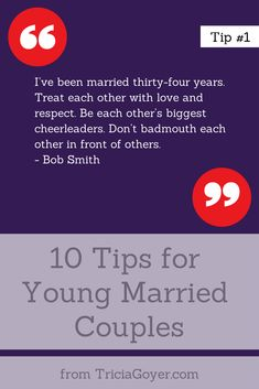 Tip #1 - 10 Tips for Young Married Couples - TriciaGoyer.com