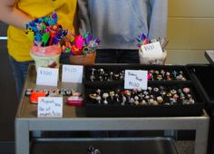 """Art on a Cart - art club students make small """"art"""" to sell before or after school and earn money for the art program."""