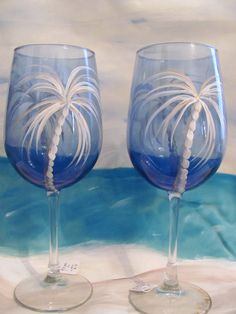 Tropical Palm Tree Hand Painted Glass Wine Glasses-Blue #Libbey