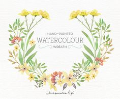 Watercolor wreath: PNG floral clip art / flower wreath / Wedding invitation clip art / commercial use / Yellow & green / CM0076g by CheesecakeandPi on Etsy