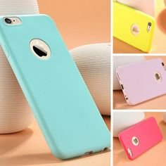 2016 New Cute Candy Colors Soft TPU Silicon Phone Cases For iPhone 5 5S 6 6s 6Plus 6s 7 Plus Fashion Phone Case With Logo Window