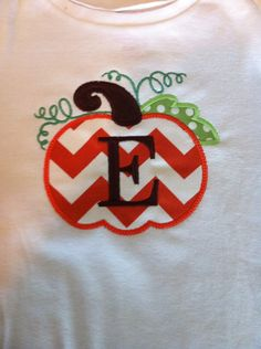 Thanksgiving Chevron Pumpkin TShirt with Initial by BowsNTangles, $20.00