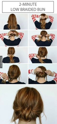 Chic Chignon hairstyle is perfect for you, if you want to special hairdo for a party or occasion. Chignon hairstyle gives a unique look to your hair. Summer Hair Buns, Easy Hair Buns, Braids Easy, Dutch Braids, Buns For Short Hair, Simple Braids, Diy Short Hair, Hair In A Bun, Diy Hair Bun
