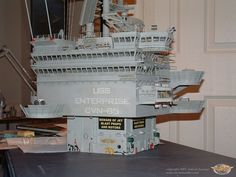 30 -super front port angled on table. Uss Enterprise Cvn 65, Uss Nimitz, Modeling Techniques, Miniature Crafts, Aircraft Carrier, Model Ships, Battleship, Marine Corps, Military Aircraft