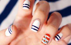 These nautical nails have us dreaming of summer days. - beach nails - Make Up Nail Art Designs, Navy Nails, Aztec Nails, Chevron Nails, Anchor Nails, Nautical Nails, Beach Nails, Nail Swag, Perfect Nails