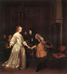 Gerard ter Borch (Dutch, 1617-1681)  The Dancing Couple c. 1660 Oil on canvas, 76 x 68 cm The National Trust, Polesden Lacey