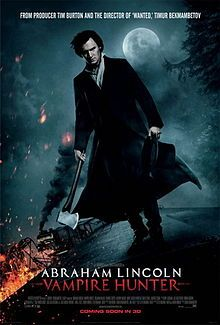 Theatrical poster: Abraham Lincoln, Vampire Hunter.  Directed by Timur Bekmambetov. Produced by, Timur Bekmambetov, Tim Burton, Jim Lemley. Screenplay by Seth Grahame-Smith.  Based on Abraham Lincoln, Vampire Hunter by Seth Grahame-Smith - Stars Benjamin Walker, Dominic Cooper, Anthony Mackie, Mary Elizabeth Winstead   (click pic for mo info)