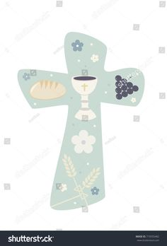 Christian cross with chalice grapes bread and wheat ear. Jesus Art, Communion Invitations, Corpus Christi, First Communion, Green Backgrounds, Funeral, Christianity, Projects To Try, Scrapbook