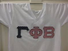 white stars with stripes v neck sorority double stitched letters shirt by mainstreetsorority on etsy