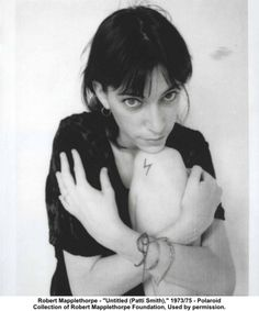 Polaroid of Patti Smith taken by Robert Mapplethorpe. (tattoo on knee by Vali Myers!)