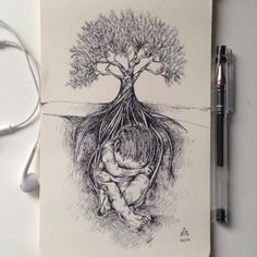 Using only black pen, Alfred Basha illustrates the nature of animal world and human being, altered into a surrealistic space.