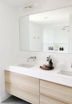 Ikea Bathroom Vanity, Vanity Sink, Bathroom Styling, Bathroom Interior Design, Bathroom Flooring, Small Bathroom, Master Bathroom, Pink Vanity, Bathroom Modern