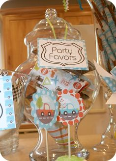 love the colors and graphics Cars Party Favors, Car Party, Party Time, Cars Birthday Parties, Car Birthday, Spearmint Baby, Transportation Party, Favour Jars, Party Planning