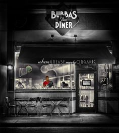 """""""Closed"""" #7 - Bubba's Diner Black and white photo by Doug Kaye."""