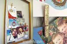 a sparkly Christmas card display