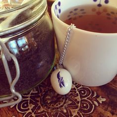 Sunday morning cuppa with a beautiful ceramic weighted tea ball infuser from The Mill Markets - thanks to my sister :-)