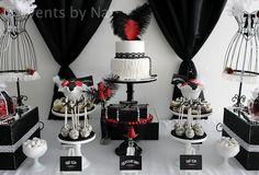 """Photo 1 of 15: Roaring 20's / Birthday """"Roaring 1920's Black, White and Red Dessert Table"""" 