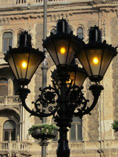 Light standard outside the Hungarian State Opera House in Budapest
