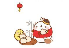 Molang eating steamed dumplings !