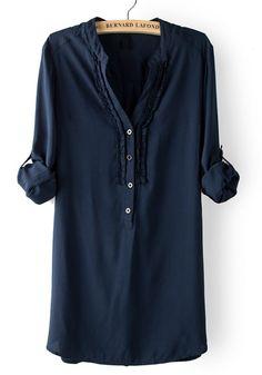 Navy Blue V-neck Long Sleeve Cotton Blend Blouse