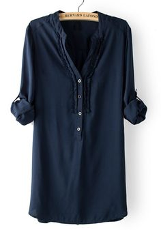 navy henley with ruffle