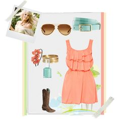 Coral and Aqua Summer Cowgirl, created by themadihatter on Polyvore