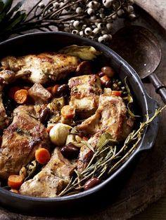 Recepten - Konijn met groenten en olijven