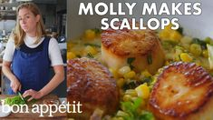 Scallops may not be cheapest cuisine, but they're totally worth it. Join Molly as she shows you how to prepare them with corn and chorizo! Pro tip: treat scallops to the flavorful oil left behind when you cook chorizo—it's basically liquid gold. Dried Scallops, Pan Seared Scallops, Restaurant Bon, Scalloped Corn, How To Cook Chorizo, Restaurants, Mollie Makes, Food Goals, Food Trends