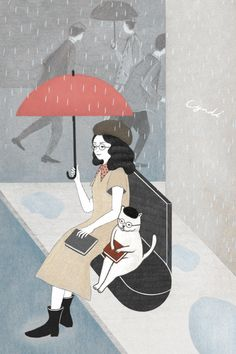 Not sure who this is by, but it's delightful.  A Lady, a Cat, their books in the rain
