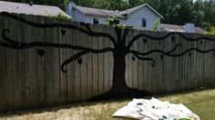 Chalk Board Painted Tree. This is the second one I've done for some color planting/landscaping customers. It has heart-shaped leaves, all free handed. Granny's Wishing Trees (no link, photo only)